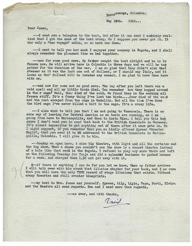 "Fu Manchu (David Bamberg)  Typed Letter Signed, ""David,"" to"