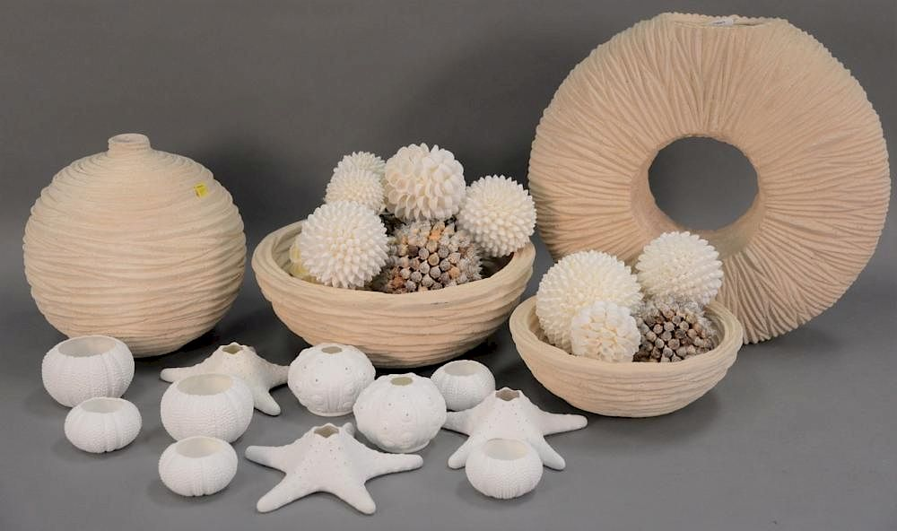 Beach Seashell Decorative Dcor Group Having Two Bowls With Round