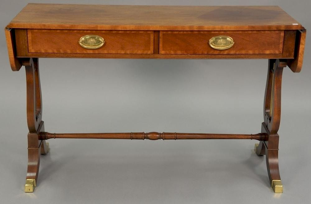 Baker Duncan Phyfe Style Mahogany Banded Inlaid Sofa Table With Two Drawers Ht 28in Lg 44in Dp 16in By Nadeau S Auction Gallery Bidsquare