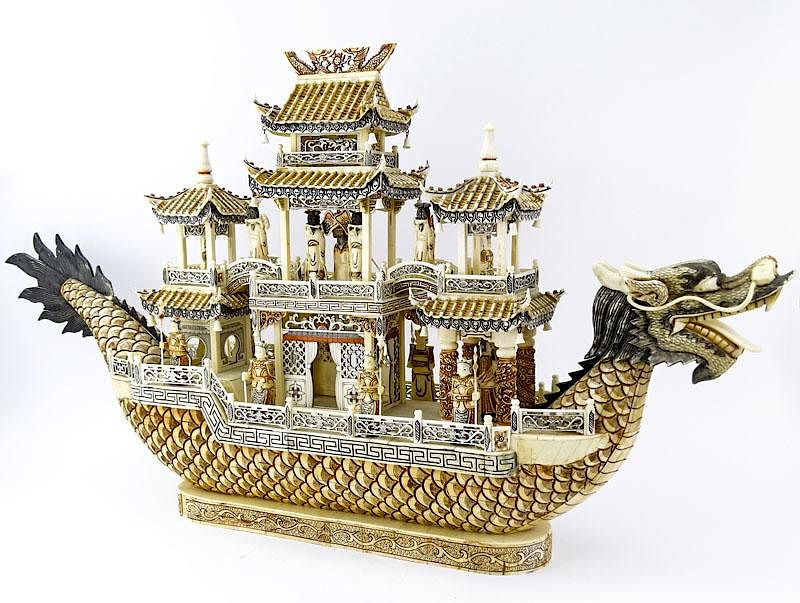 Vintage Chinese Carved Bone Dragon Ship With Immortals By Kodner Galleries 777917 Bidsquare