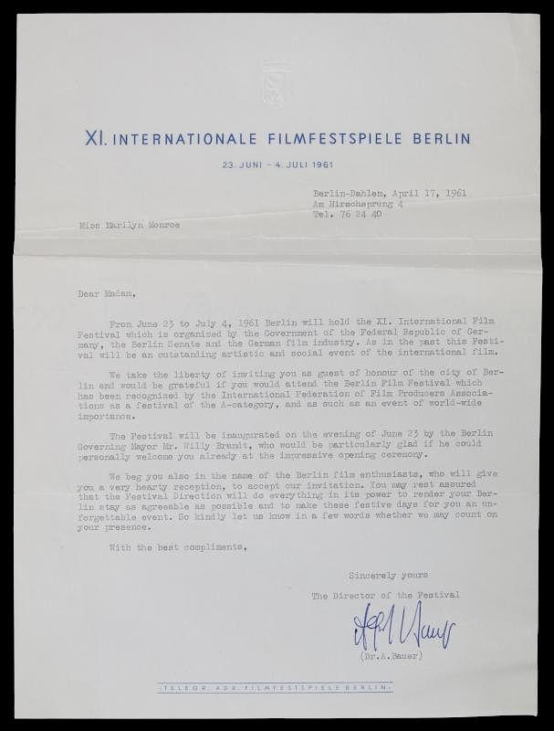 Marilyn Monroe Film Festival Invitation By Julien S Auctions