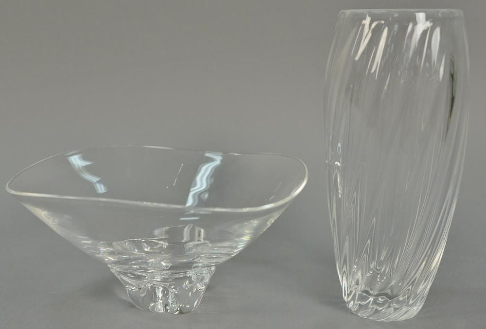 Two Steuben Crystal Glass Pieces To Include A Twist Form Vase And A