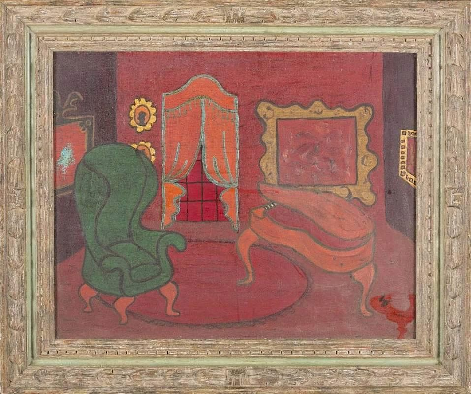 Painting of a red room. c.1970s. Heydenryk frame by Quinn\'s Auction ...