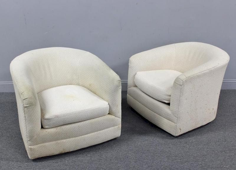 Pleasing Pair Of Modern Barrel Form Swivel Chairs By Clarke Auction Theyellowbook Wood Chair Design Ideas Theyellowbookinfo