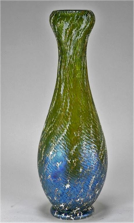 Attrib Kralik Textured Iridescent Art Glass Vase By Bruneau Co