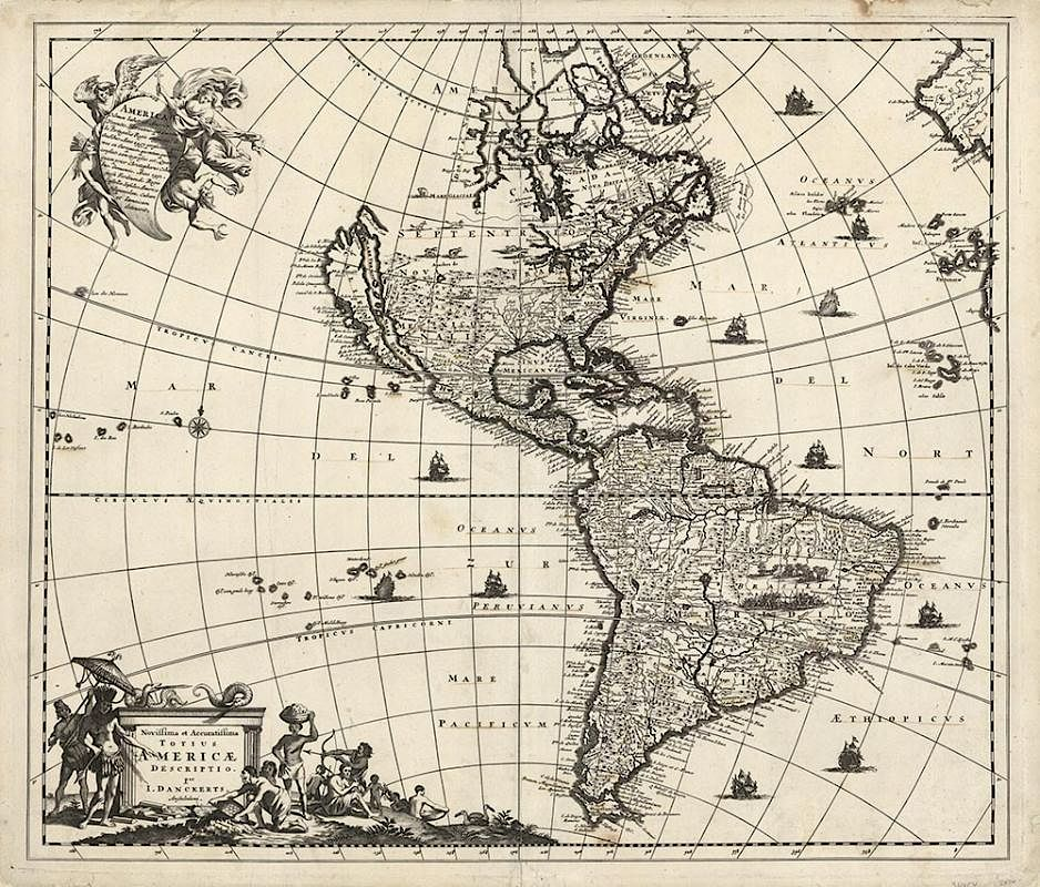 Early Americas Map With California As An Island By The Old