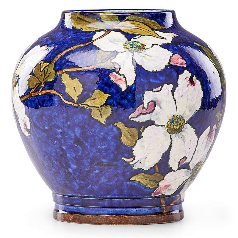 John Bennett Vase With Dogwood Blossoms By Rago Bidsquare