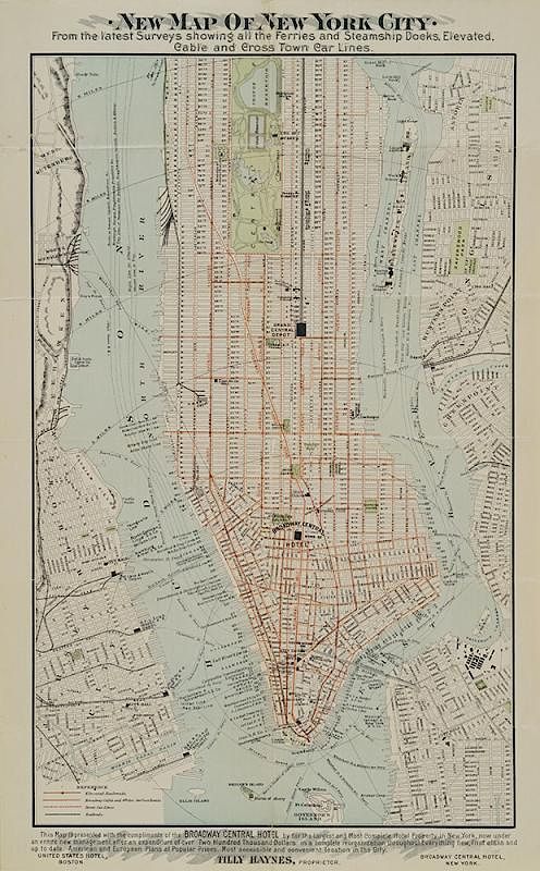 New Map Of New York City C 1900 By Phyllis Lucas Gallery 886976