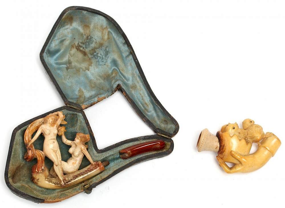 Erotic antique meerschaum pipes