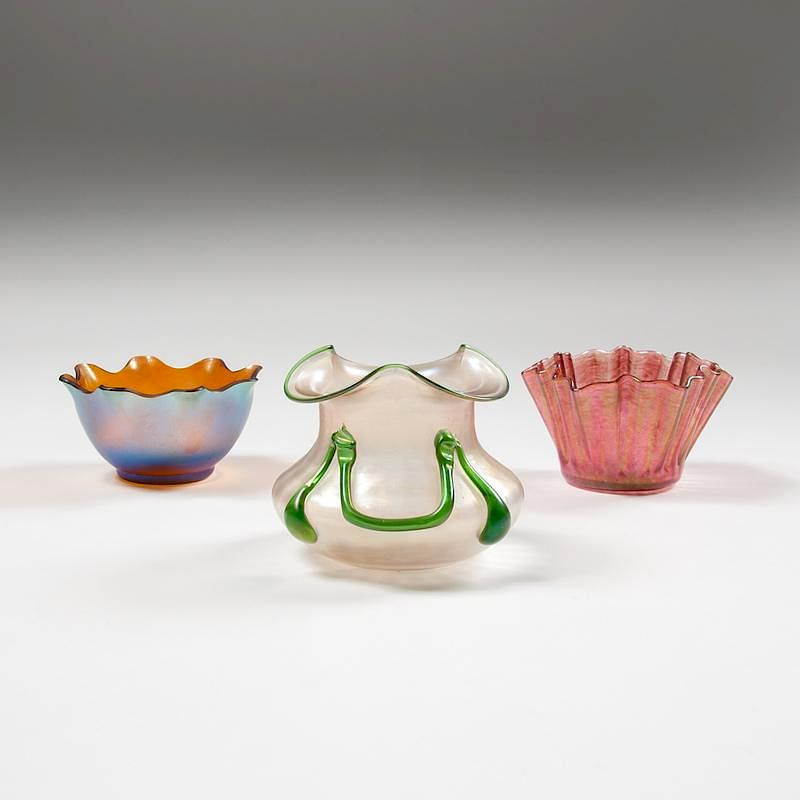 Continental Art Glass Vases And Bowls Lot Of Three By Cowans