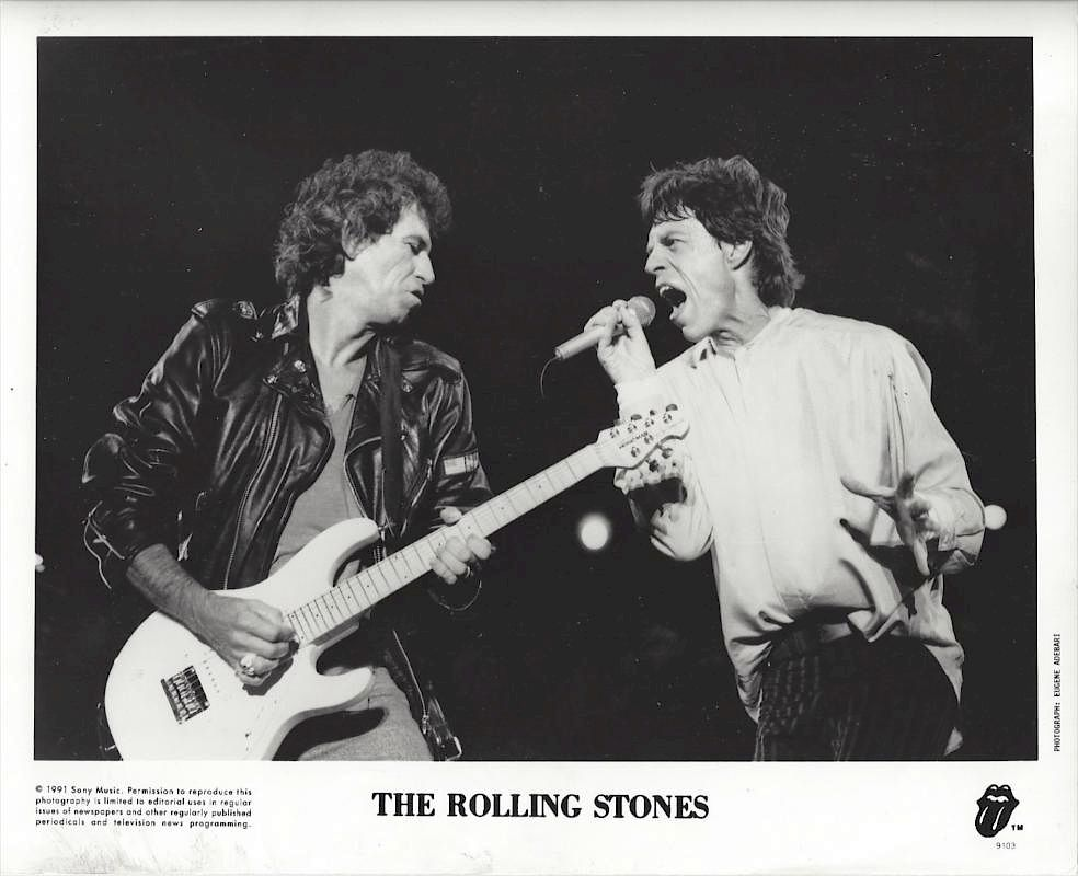 KEITH RICHARDS and MICK JAGGER by EUGENE ADERBARI, 1991 by ...
