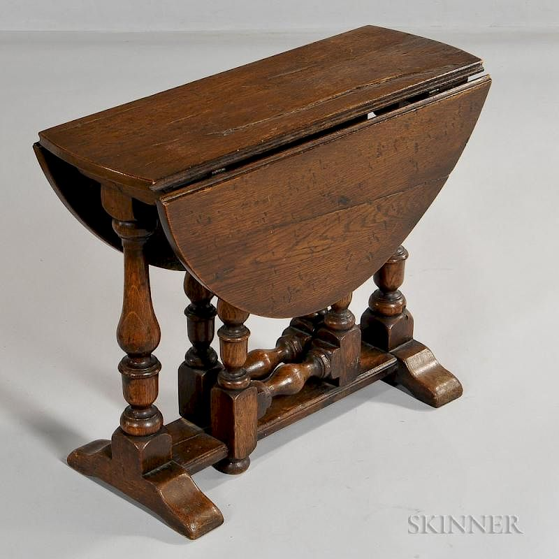 Exceptionnel William And Mary Style Drop Leaf Side Table, England, 19th Century, Hinged  Oval Top, Supported On Swing Out Turned Gate Legs, By Skinner | Bidsquare