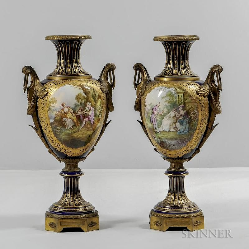 Pair Of Sevres Style Porcelain Vases Late 19th Century Each Cobalt