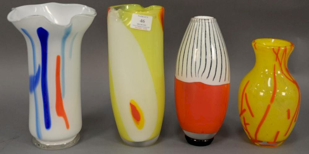 Group Of Four Art Glass Murano Vases Including Yellow With Orange