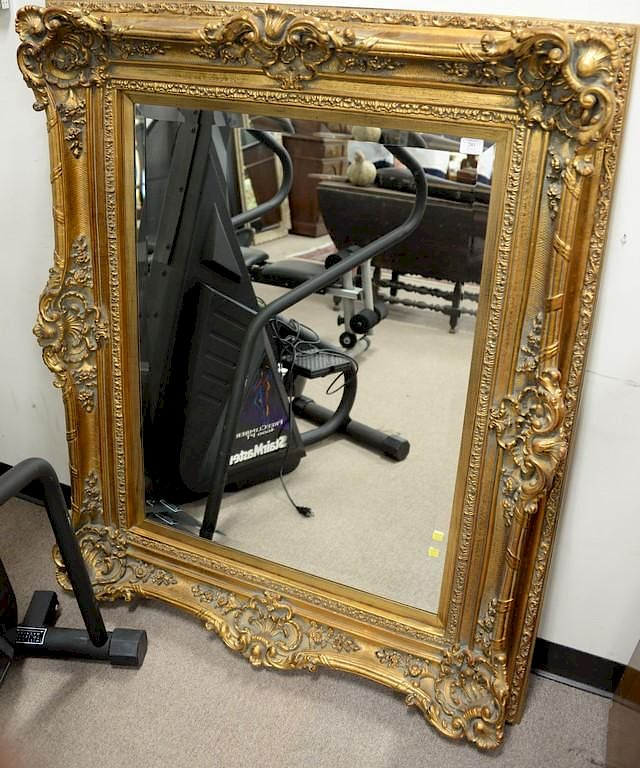Large Gold Framed Mirror With Beveled Mirror Total Size 55 X 45