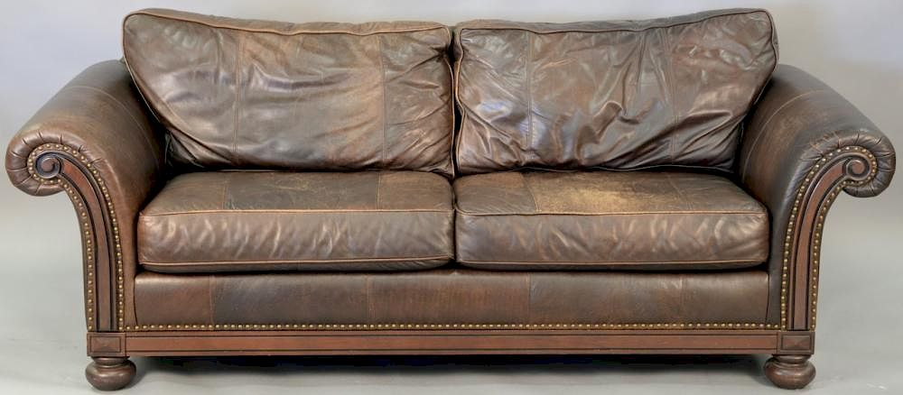Bernhardt Leather Sofa Wear Wd 87in By Nadeau S Auction Gallery Bidsquare