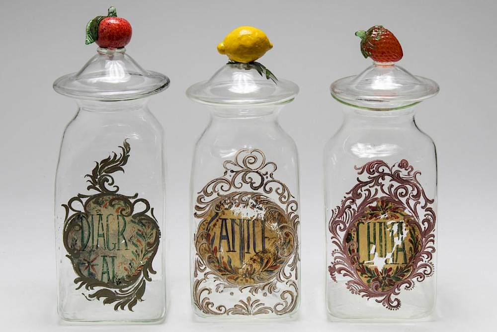 Italian Hand Blown Glass Kitchen Canister Set 3 By Showplace