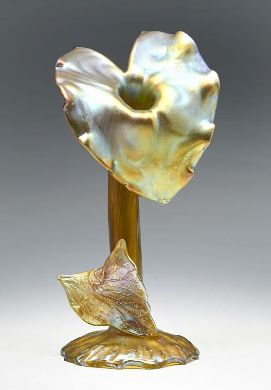 Loetz Iridescent Jack In The Pulpit Art Glass Vase 12 By San
