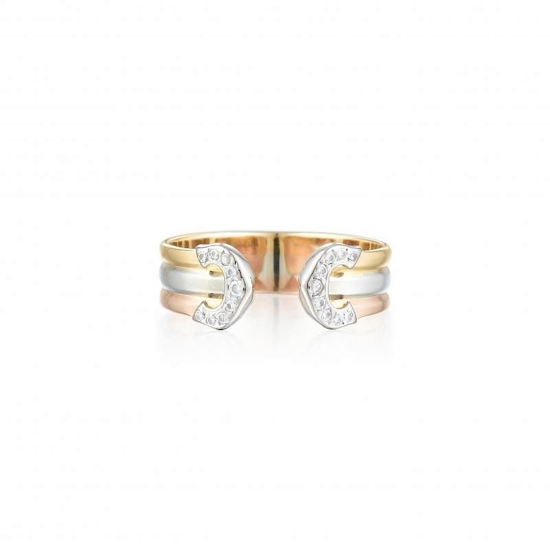 99fbbe65ac7f0 Cartier Tri-Gold Diamond 'C' de Cartier Ring by Fortuna Auction ...