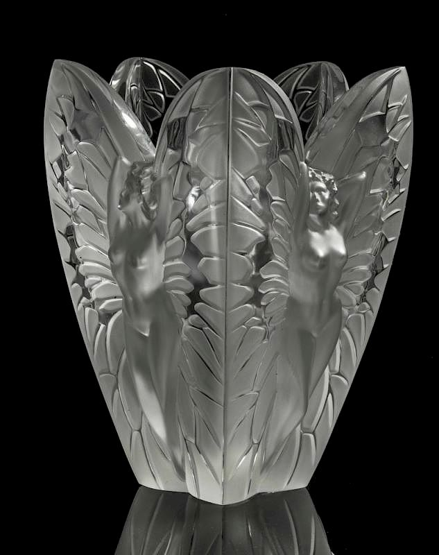 Lalique Chrysalide Frosted And Clear Crystal Vase By Witherells