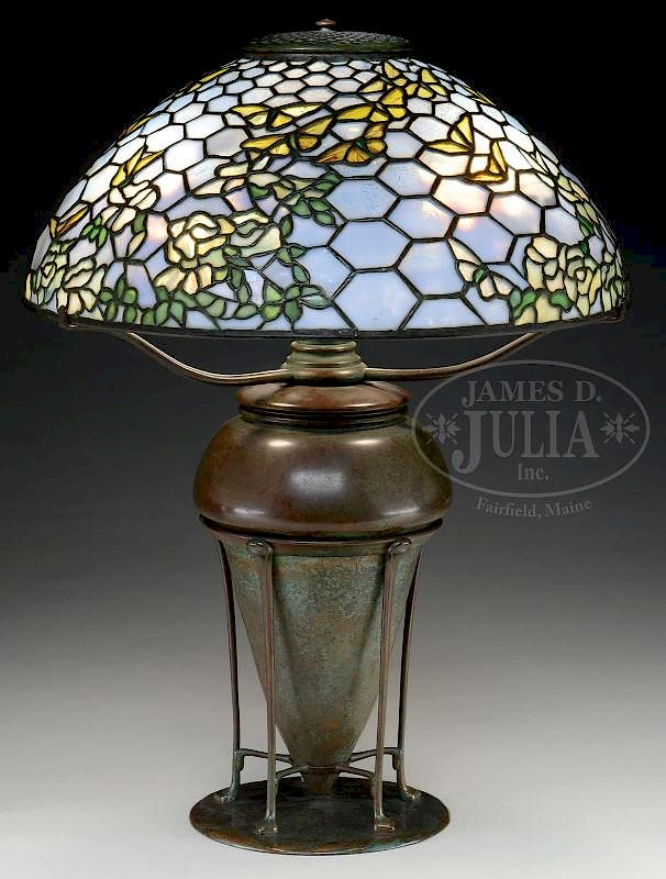 Tiffany Studios Rose And Butterfly Table Lamp By James D Julia