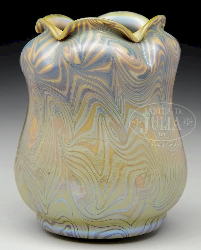 Tiffany Favrile Glass King Tut Vase By James D Julia Inc Bidsquare
