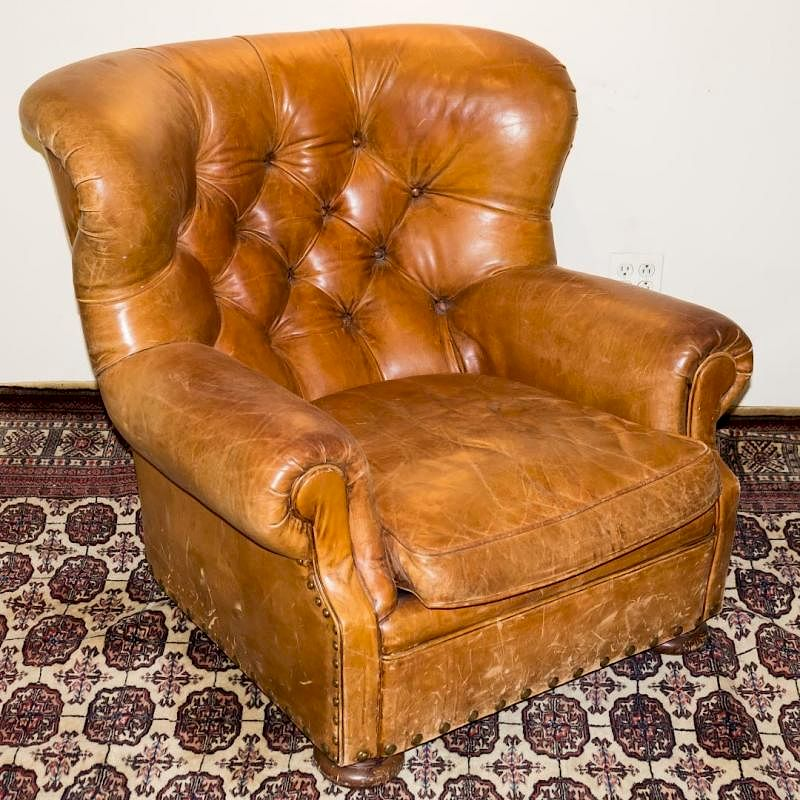 Ralph Lauren Overstuffed Leather Club Chair By Showplace Antique + Design  Center | Bidsquare