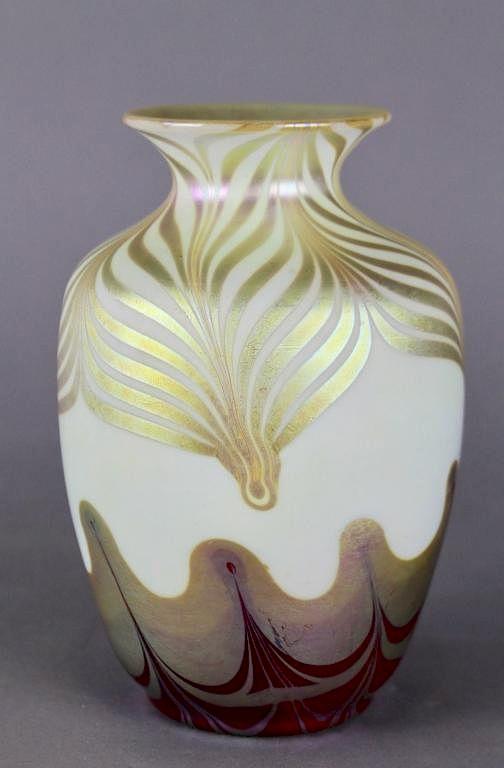 Steuben Aurene Pulled Feather Vase By A 1 Auction Llc Bidsquare