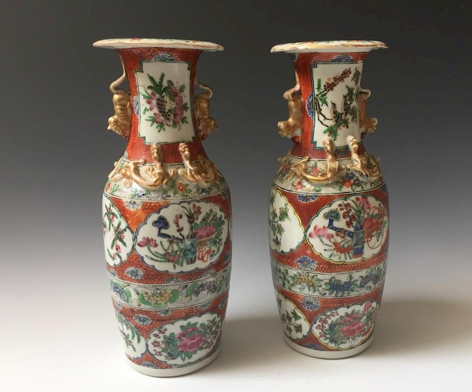 A Pair Chinese Antique Famille Rose Porcelain Vases 19c By