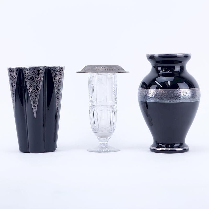 Two Silver Overlay And Black Satin Glass Vases Along With Etched