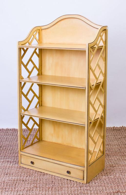 GEORGE III STYLE YELLOW PAINTED WOOD BOOKSHELF sold at auction on