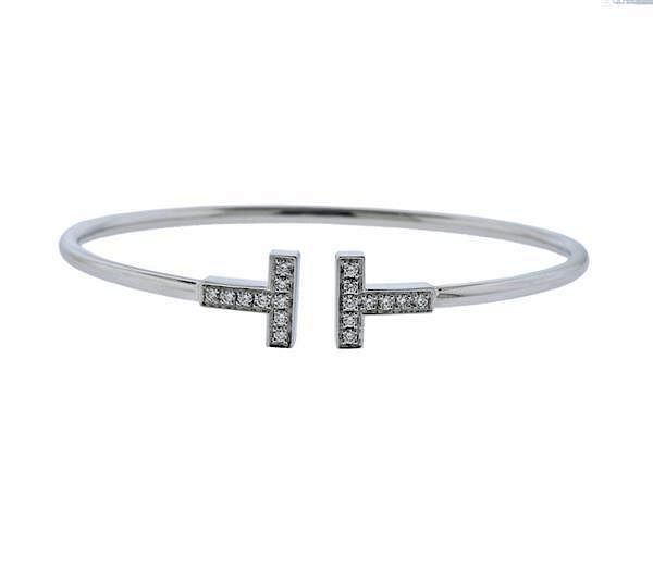 Tiffany Amp Co 18k Gold Diamond T Wire Bracelet By Hampton Estate Auction 1010967 Bidsquare