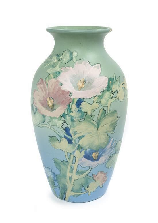 A Weller Pottery Vase Height 12 Inches By Leslie Hindman