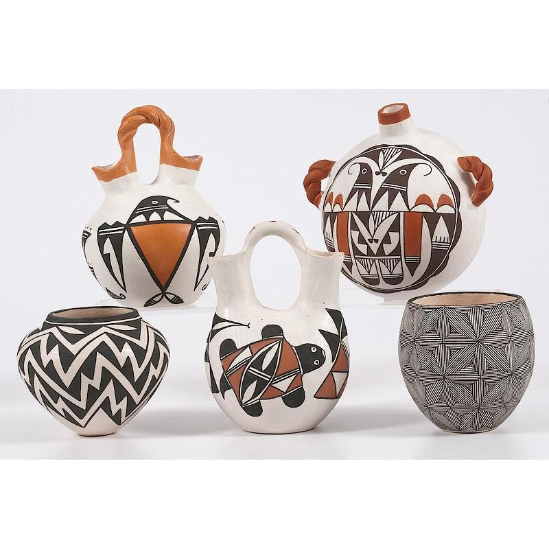 Collection Of Acoma Pottery Wedding Vases Canteens And Bowls By
