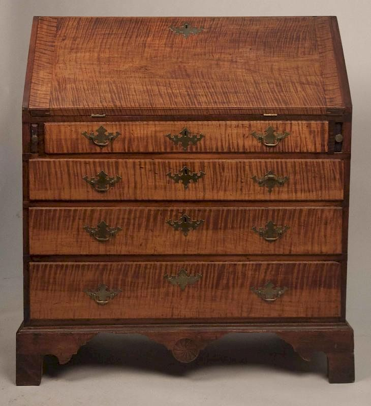 Antique Tiger Maple Slant Front Desk by Witherell's - 1020650 | Bidsquare - Antique Tiger Maple Slant Front Desk By Witherell's - 1020650