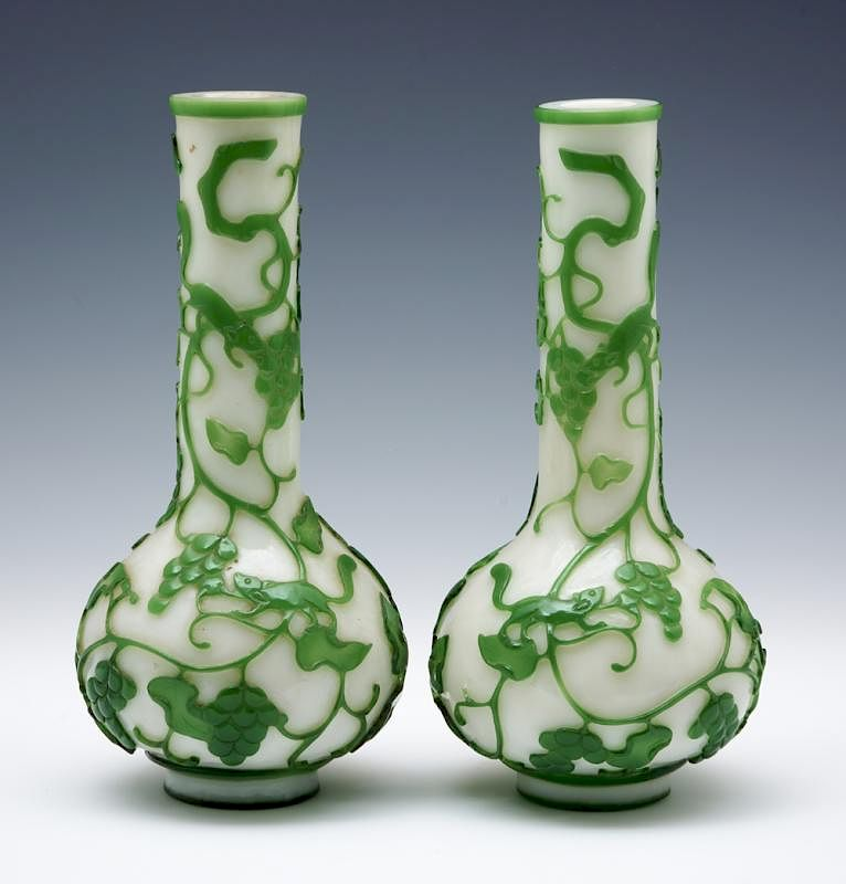 Pair Of Chinese White And Green Peking Glass Vases 11 14 By San
