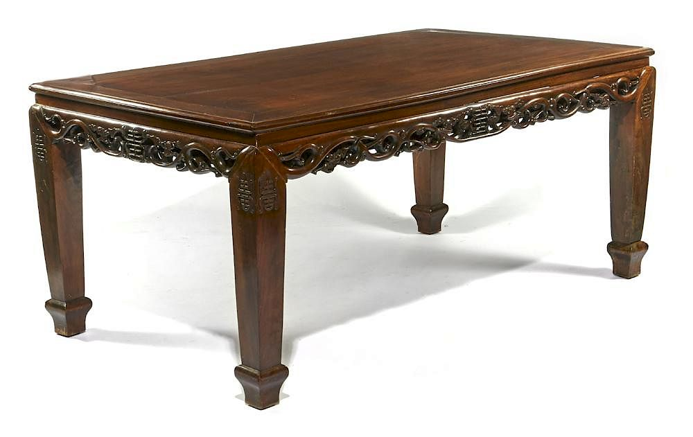 Chinese Rosewood Dining Table With Through Carved Skirt By San Rafael  Auction Gallery | Bidsquare