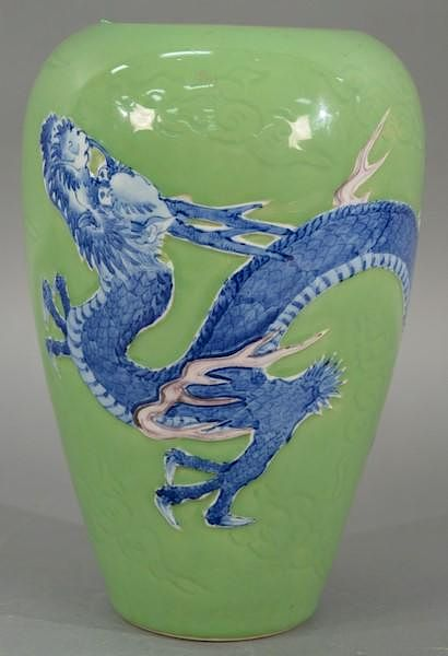 Large Green Glazed Chinese Dragon Vase Having Green Ground With