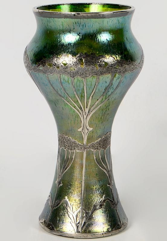 Loetz Glass Vase With Sterling Overlay By Abington Auction Gallery