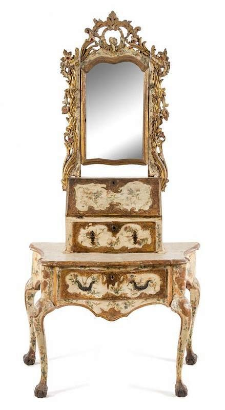 A Venetian Painted Dressing Table Height Overall 77 X Width 38 1 2 X