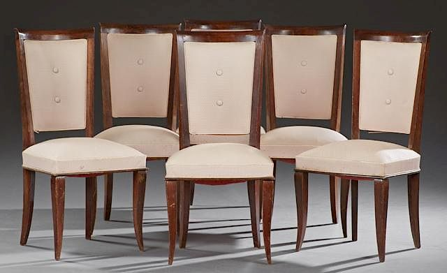 Set Of Six French Art Nouveau Carved Beech Upholstery Dining Chairs