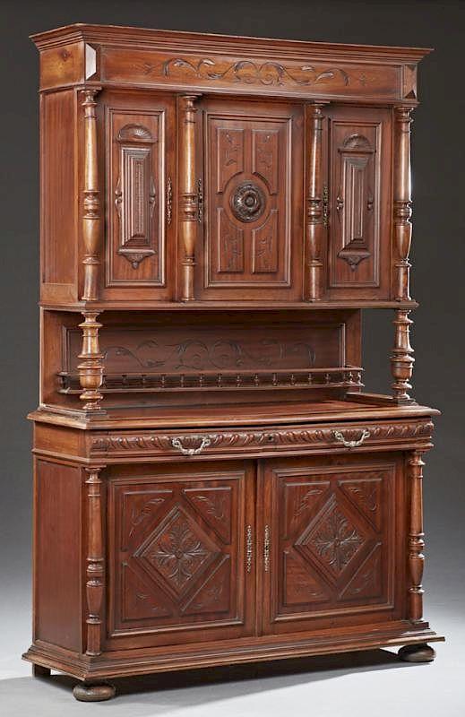 Populaire préféré French Henri II Style Carved Walnut Buffet a Deux Corps, 19th c @OU_52