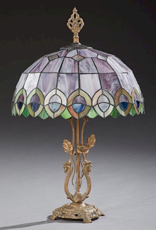 Tiffany Style Slag Glass Table Lamp Late 20th C The Leaded Domed