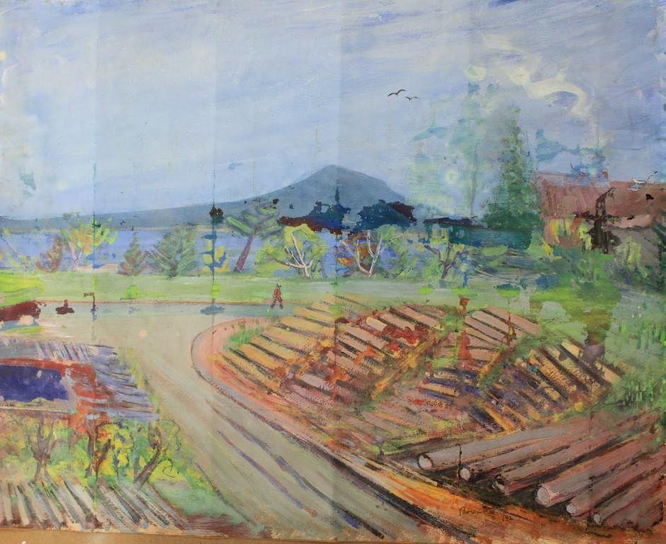 borenstein sam samuel 1908 1969 landscape painting tempera