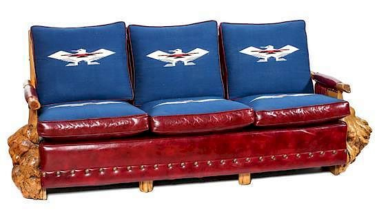 Uptown Furniture Burled Wood Sofa Height 34 X Length 83 X Depth 35 Inches  By Leslie Hindman Auctioneers | Bidsquare