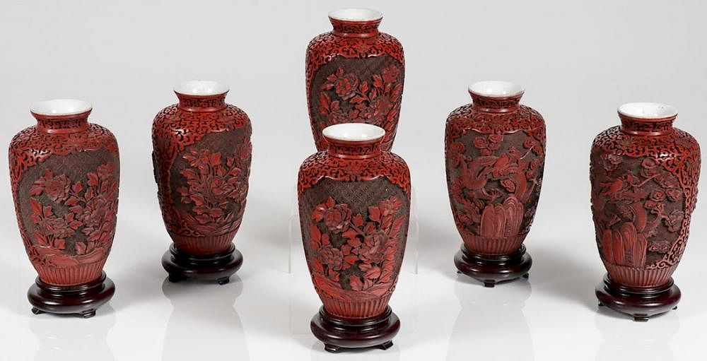Six Chinese Carved Cinnabar Vases By Jacksons International