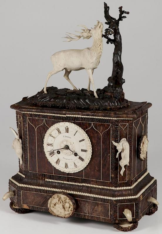 A GERMAN MANTEL HUNT CLOCK, FRIEDRICH BOHLER by Jackson's
