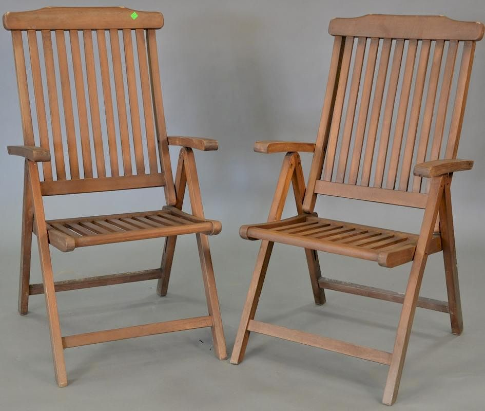 Plantation Timbers Set Of Six Teak Folding Armchairs By