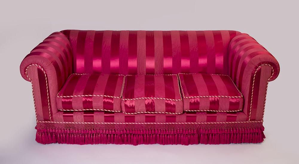 RED STRIPED SILK-UPHOLSTERED SOFA by Stair - 1062495 | Bidsquare