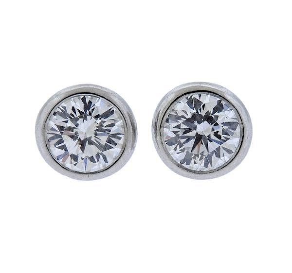 Tiffany Co Peretti Platinum Diamond Stud Earrings By Hampton Estate Auction Bidsquare